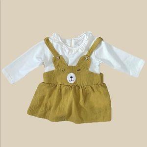 YELLOW OVERALL DRESS SET